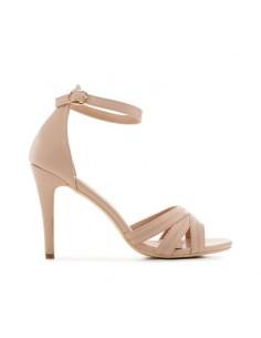 Sandalo beige con tacco alto