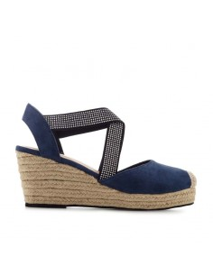 Sandalo blu con zeppa in juta