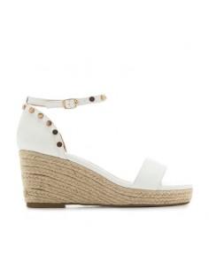 Sandalo bianco con zeppa in...