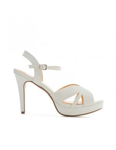 Sandalo bianco con plateau