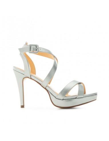 Sandalo argento con cinturino incrociato