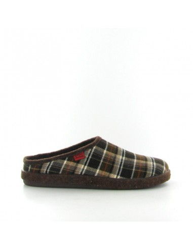 Pantofola quadri marrone