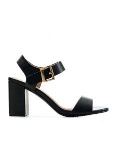 Sandalo nero tacco largo