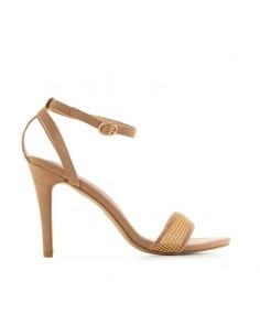 Sandalo beige con fascia oro