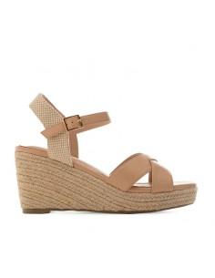 Sandalo beige con zeppa in...