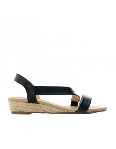 Sandalo nero con zeppetta