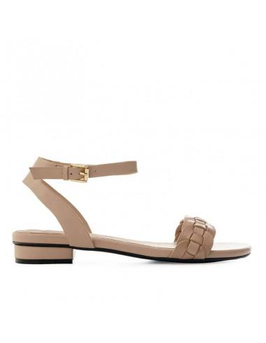 Sandalo cipria con fascia intrecciata