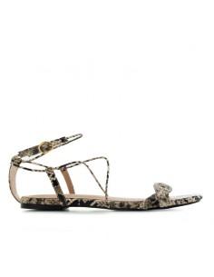 Sandalo pitonato con intreccio